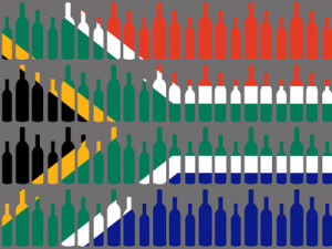 multiple wine bottles and South African flag